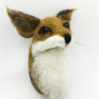 Needle Felted Fox Trophy Ornament Faux taxidermy
