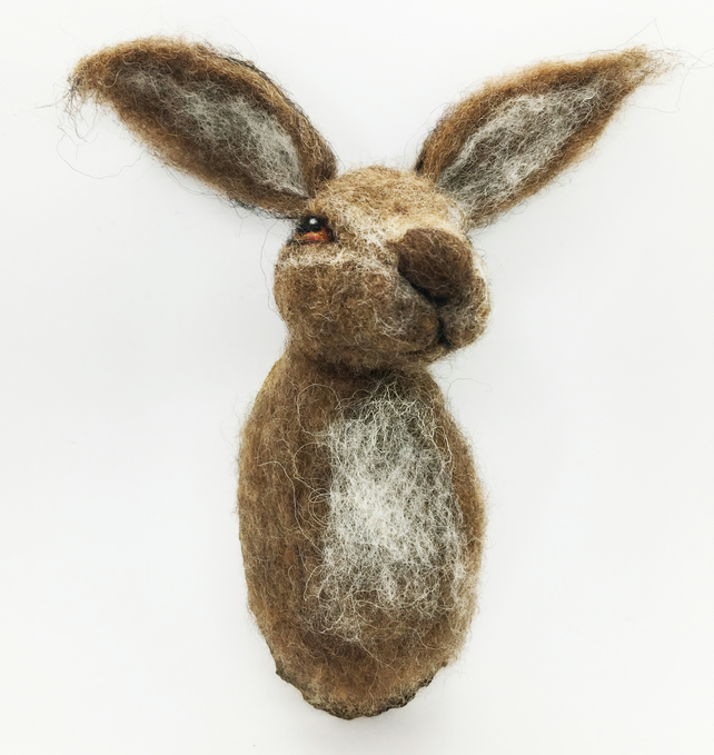 Needle Felted Hare Ornament - Faux taxidermy Trophy