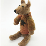 Small Needle Felted Jointed Teddy Ornament