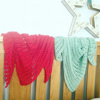 Crochet wine berry red shawl wrap