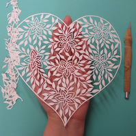 Original Hand Cut Papercut 'Floral Heart'
