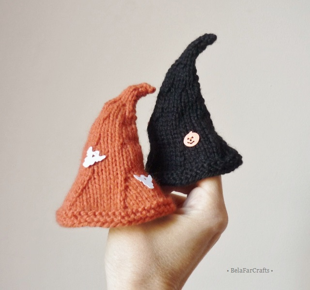 Knitted witch hats (2) - Halloween party - Fall decorations - Witch egg hats