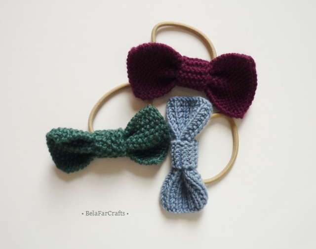 Mini hair bows (3) - Ponytail holders - Knitted bows - Girls hair ties