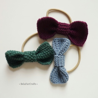 OFFER - Mini hair bows (3) - Ponytail holders - Knitted bows - Girls hair ties