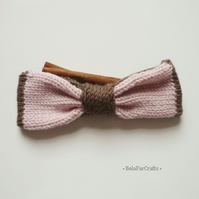 Knitted brown, pink bow - Ladies headband accessory - Baby photo shoot bow
