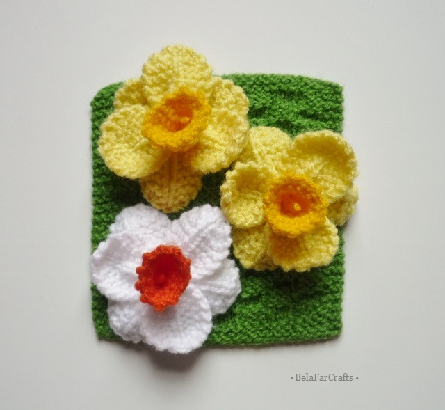 Knitted daffodils (3) - Hats & Hair accessories - Flower corsage - Spring flower