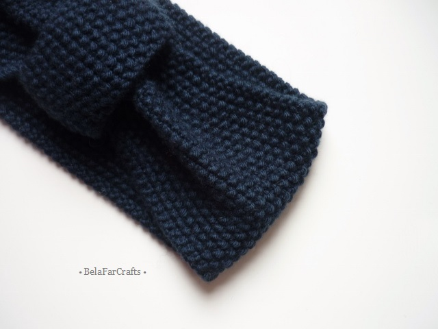 Turban style headband - Navy blue ear warmer - One of a kind