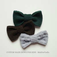 MADE TO ORDER bows for kids - Photo shoot bows - Toddler knit accessories
