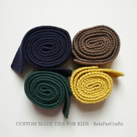 MADE TO ORDER boys' neckties, Toddlers hand knitted ties, Pageboy wedding ties