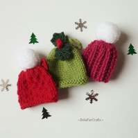 Christmas tree decorations (3) - Mini pom pom hats - Hanging ornaments