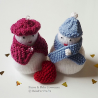 'Faros & Bela' snowmen - Wedding anniversary gift - Christmas table decor