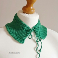 Green dress collar - Textile fashion - Wool ruffled collar