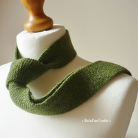 Gift for Dad - Scottish sheep wool necktie - Olive green - Made in UK