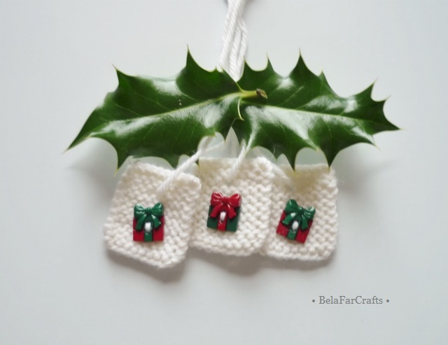 Christmas gift tags (10) - Gift box toppers - Hand knitted gift tags