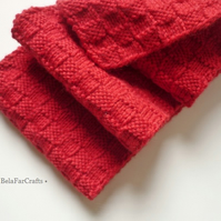 Unisex red wool scarf - His & Hers gift - Hand knitted spring scarf