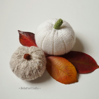 Country style pumpkins (3) - Light color autumn pumpkins - Shabby cottage decor