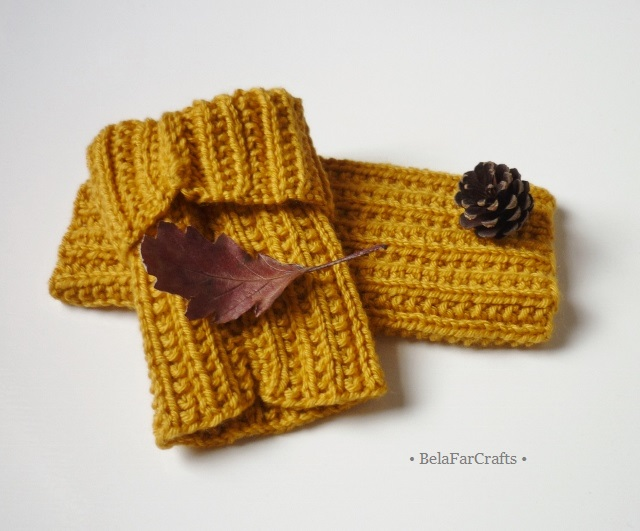 Golden yellow mittens - Fingerless gloves - Autumn colours wristlets