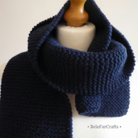 Navy blue men's scarf - 73in long winter scarf - Winter knitwear for guys
