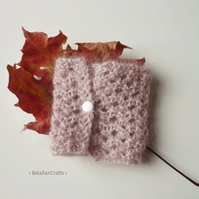 OFFER - Lacy mohair bracelet - Dusky pink textile cuff - Hand knitted jewellery