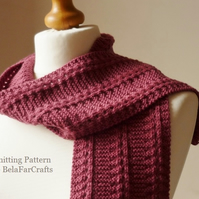 KNITTING PATTERN - Lace Columns Scarf - First knitting project