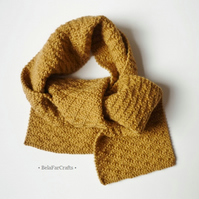 Camel colour boys' scarf - Handmade gift for kids - Knitted wool scarf