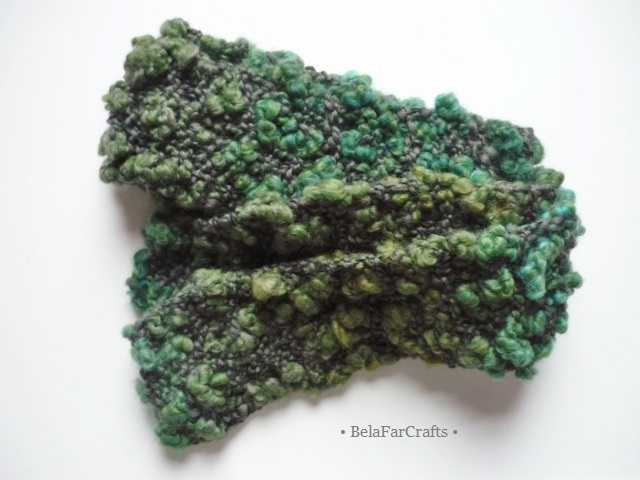 Green shades scarf - Fall colours accessory - One-of-a-kind - Gift for teens