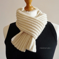 Unisex cream winter scarf - His & Hers - Rib knitted neck scarf