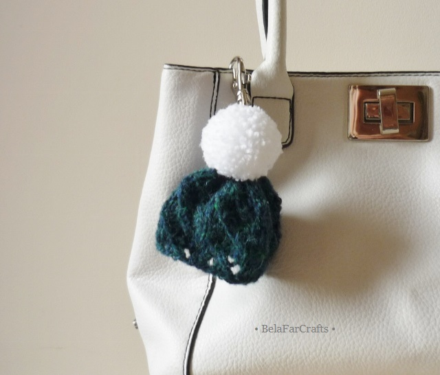 Scottish wool bag charm - Mini pom pom hat - Back to school gift