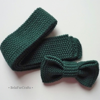 Tie and bow set for twins - Gift for kids - Toddlers' necktie - Knitted bow