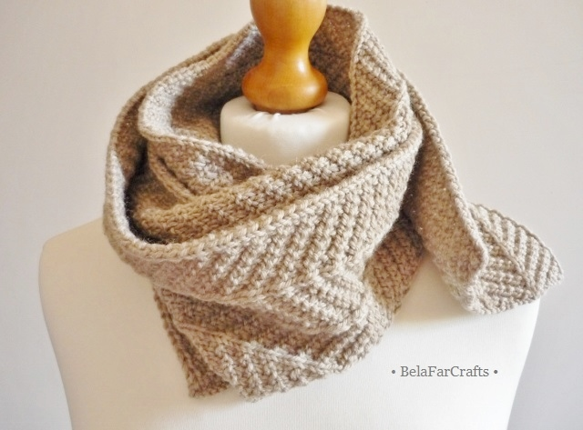 7th wedding anniversary - Men's beige scarf - Knitted wool gift for him