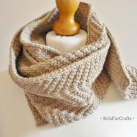 7th wedding anniversary - Men's beige scarf - Knitted wool gift - BelaFarCrafts