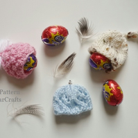 KNITTING PATTERN - Mini Egg Hats - First knitting project - PDF file pattern