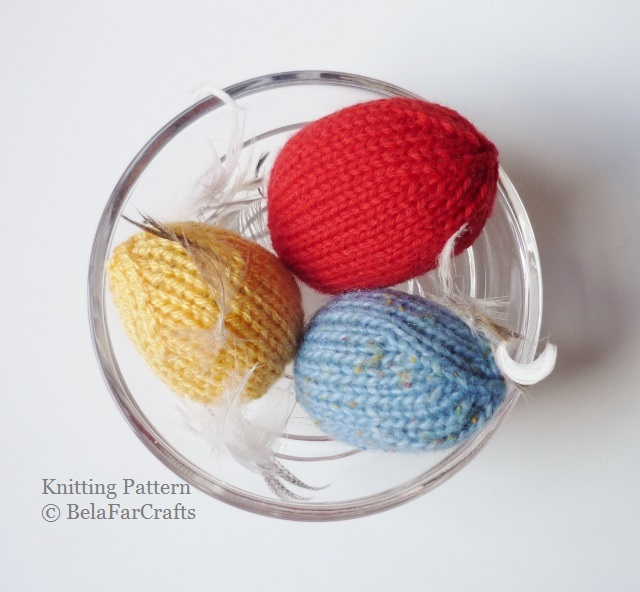 KNITTING PATTERN - Eggs Decorations - Knitting for beginners - PDF file pattern