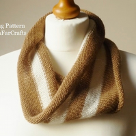 KNITTING PATTERN - Stripes Fine Wool Cowl - Beginners knitting project