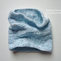 KNITTING PATTERN - Baby Squares Cowl - Beginners knitting project