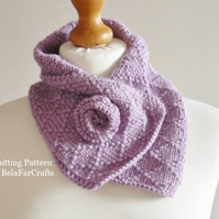 KNITTING PATTERN - Diamonds Neck Warmer - Knitting learner tutorial