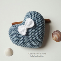 'Something blue' - 2nd anniversary gift - 'Cotton Bow Hearts' - BelaFarCrafts