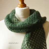 Featherweight scarf - Gift for Her - Cypress green decorative scarf