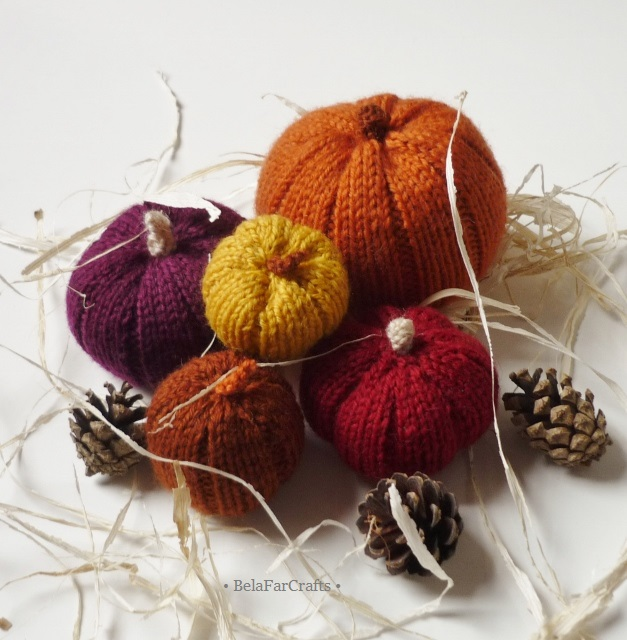 Fall decorating pumpkins - Autumn wedding - Housewarming gift - Knit pumpkins