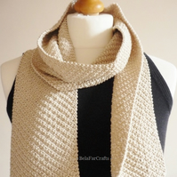Men's beige cotton scarf - Father's Day gift - Guys' cotton neck scarf