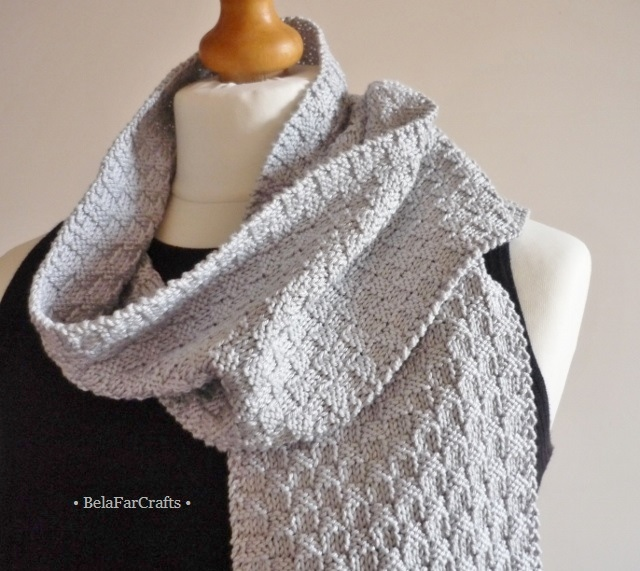 Men's grey cotton scarf - Silver colour scarf for guys - Cotton gift for him