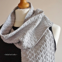 Men's grey cotton scarf - Husband cotton gift - Wool free & eco friendly