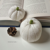 Winter white pumpkins (2) - Country wedding decor - Chabby chic Fall decor
