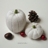 Shabby chic fall decor - White Xmas pumpkins (2) - Country wedding decor