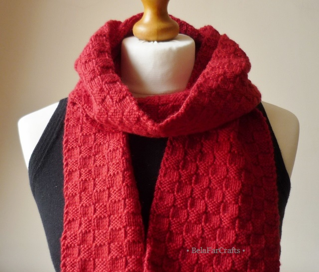Unisex wool scarf - Hand knit red scarf - His & Hers wool gift - One of a kind