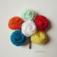 Flower hair grips (6) - Kids' party favours - Roses bobby pins