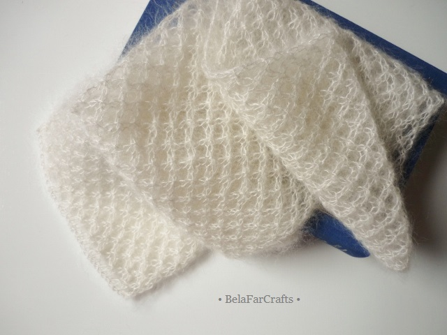 Ivory bridal scarf - Hand knit shoulder wrap - Mohair wedding shawl