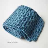 Blue wool scarf for boys - Back to school gift - Knitted scarf for kids