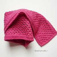 Striking fuchsia decorative scarf - Cotton anniversary gift - Cotton hand knits