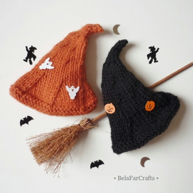 Halloween witch hats (2) - Spooky fall decor - Witch hats egg cosies
